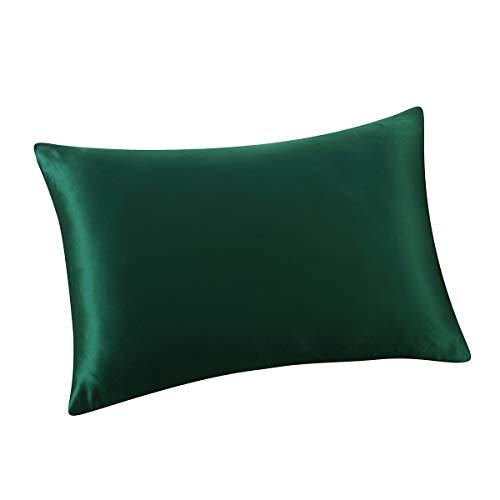 Silk Forest - ALASKA BEAR - Natural Silk Pillowcase, Hypoallergenic, 19 Momme, 600 Thread Count 100 Percent Mulberry Silk, Queen Size with Hidden Zipper (King 20''x36'', Forest Green)
