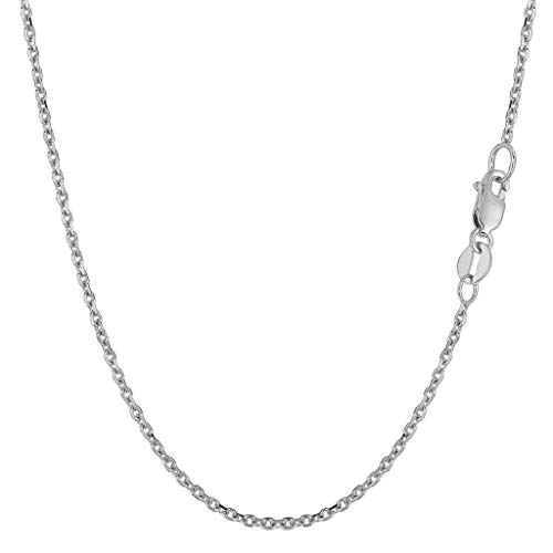 14K Yellow or White Gold 1.5mm Shiny Diamond Cut Cable Link Chain Necklace for Pendants and Charms with Lobster-Claw Clasp (16