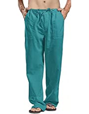 HGOOGY Cotton Linen Yoga Pants for Men Casual Solid Plus Size Pocket Trousers Lightweight Drawstring Pant(S-5XL)