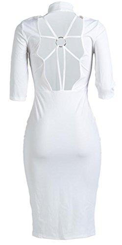 White Backless Sleeve Big Dress Bodycon Tang Club Summer Women Slim Half wnnvqEf1