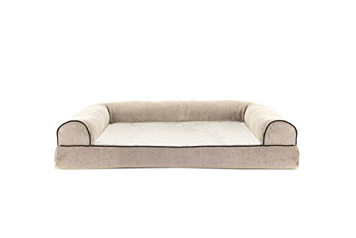 Furhaven Pet Faux Fleece & Chenille Soft Woven Memory Top Sofa Pet Bed, Large, - Orthopedic Sofa Bed Bolstered