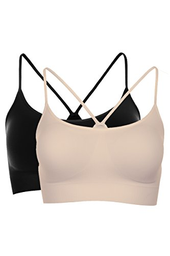 Kurve Women's Padded Bandeau Bra (Removable) -Made In USA- (Medium/Large, Black-Nude - Nude Usa