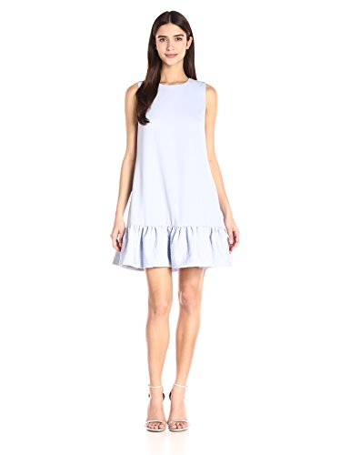 Cynthia Rowley Women's Crepe Dress with Quilted Bottom Flounce, Powder Blue, 12 31gD SvGRPL