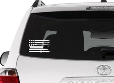 Decal for Car Window or Tumbler Sticker Graphic American Flag Bullets