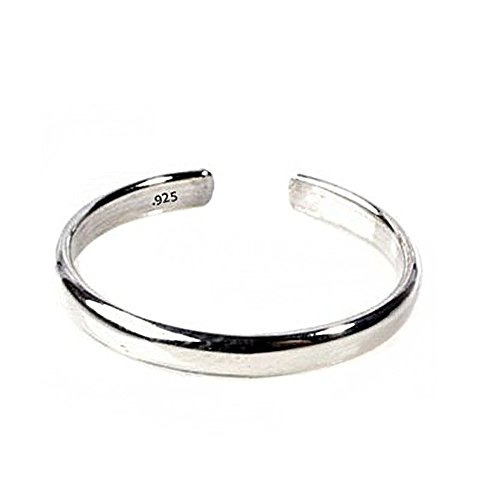 Sterling Silver Toe Ring Plain 925 Solid Band, One Size Fits All Flexible - Heart Solid Toe Ring