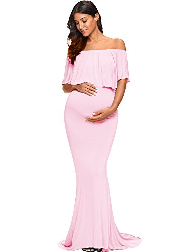Love2Mi Womens Maternity Off Shoulder Ruffles Dress Mama Photography Slim Fitted Gown Maxi,Pink,X-Large