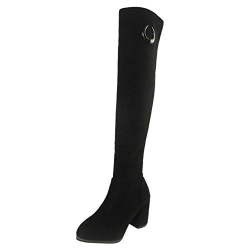 Black COOLCEPT Long Women 1 Boots Stylish wxIq01SC