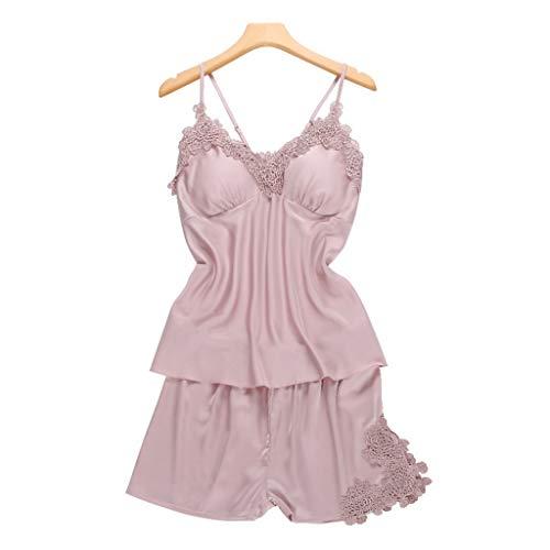 - Trendy Women Nightwear Silk Lingerie Set Two Piece Lace Pajama Satin Cami Top+Shorts Pijama Mujer(Pink,XL)