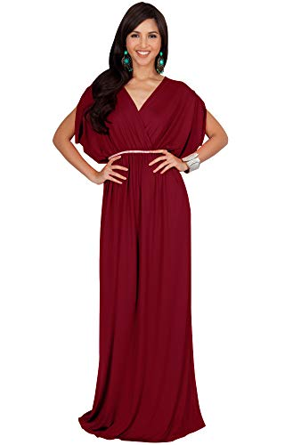 KOH KOH Plus Size Womens Long Cocktail Empire Waist Short Sleeve Formal V-Neck Bridesmaid Summer Flowy Bridesmaids Wedding Guest Grecian Gown Gowns Maxi Dress Dresses, Crimson Red 2XL ()