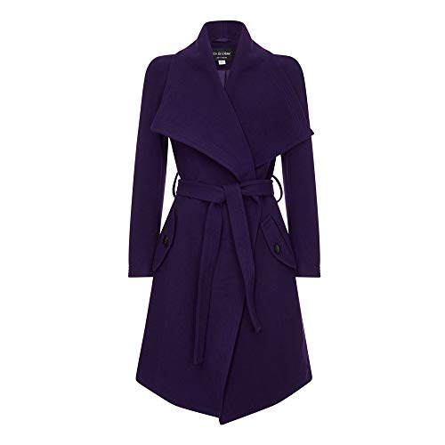 De la Creme – Purple Women`s Winter Wool Cashmere Wrap Coat with Large Collar Size 4