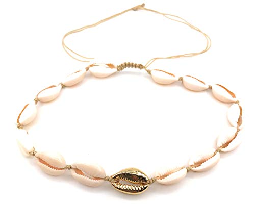 - LESLIE BOULES Natural Cowrie Shell Gold Plated Beads Necklace Fashion Jewelry