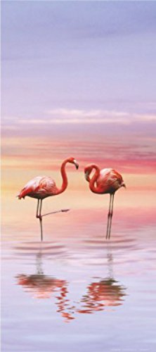 Flamingos Poster Photo Wallpaper - Flamingo Couple In Pastel Coloured Ocean Sunrise (80 x 35 inches) 1art1 GmbH
