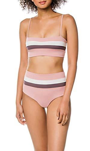 (Selatamy Women's Sporty Bikini Sets High Waist Color Block Bandeau 2 Pieces Tankini Swimsuit Pink M)