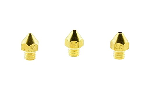 3qty 3D Printer Larger Size Brass Extruder Mk7 Mk8 Nozzles 1.0mm 1.5mm 2.0mm for 1.75mm Filament (1qty) 1mm Brass Nozzle (1qty) 1.5mm Brass Nozzle (1qty) 2mm Brass Nozzle by Daewon Industries