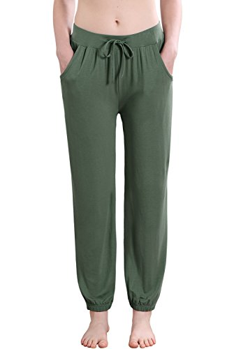 Vislivin Women's Stretch Knit Pajama Pants Modal Sleep Pant Green Thin L