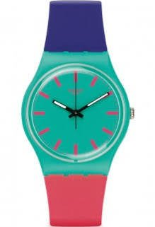 Swatch Shunbukin Teal Dial Plastic Silicone Quartz Ladies Watch GG215 - Swatch Watches