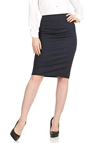 - X America Ponti Midi Skirts for Women Knee Length with Wide Waist Band, Junior & Plus Size Denim