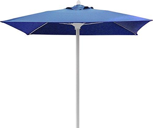 FiberBuilt Umbrellas Riva Umbrella with Premium Marine Grade Sunbrella Fabric Canopy & Bright Aluminum Pole, 7.5', Jockey (Red Sunbrella Canopy)