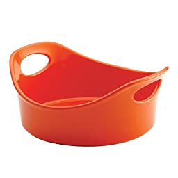 Rachael Ray Stoneware 1-1/2-Quart Round Bubble and Brown Baker, Orange