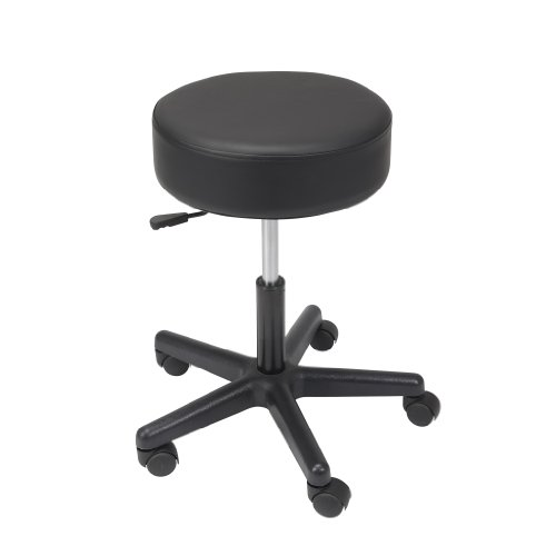 Drive Medical Padded Seat Revolving Pneumatic Adjustable Height Stool with Plastic Base, Black (Stool Adjustable Physician)