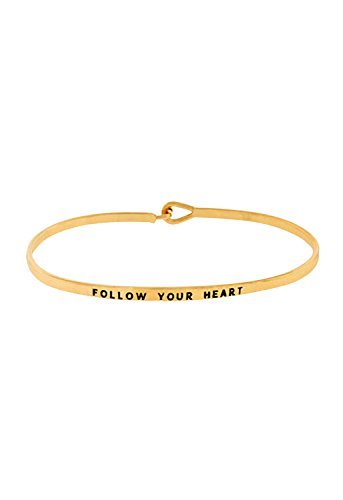 Rosemarie Collections Women's Inspirational Thin Hook Bangle Bracelet Follow Your Heart (Gold Tone)