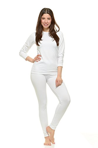 Womens Thermal Underwear (Thermajane Women's Ultra Soft Thermal Underwear Long Johns Set with Fleece Lined (Large, White))