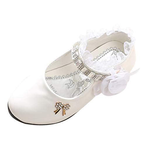 CCFAMILY Children Toddler Infant Kids Baby Girls Lace Crystal Dance Single Princess Shoes White ()