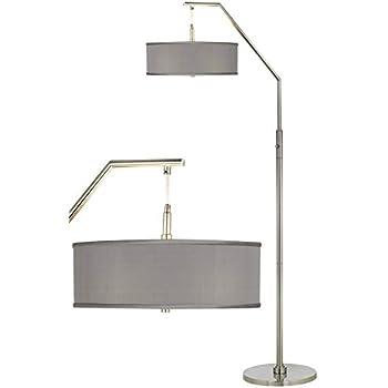 Modern Arc Floor Lamp Brushed Nickel Gray Faux Silk Drum