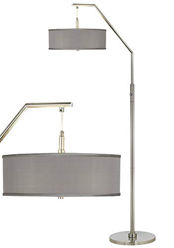 Modern Arc Floor Lamp Brushed Nickel Gray Faux Silk Drum Shade with Acrylic Diffuser for Living Room Reading