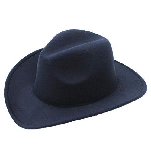 (Men's Faux Felt Western Cowboy Hat Outdoor Classic Wide Brim Fedora Cattlemen Hat Navy)
