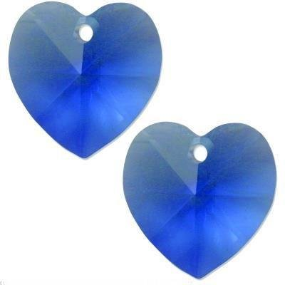 2 Sapphire Swarovski Crystal Heart Pendant 6202 14mm -