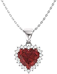 Natural and Certified Heart Cut Gemstone and Diamond Halo Necklace in 14k White Gold | 1.14 Carat Pendant with Chain