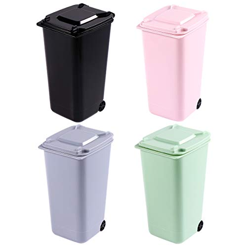TOYMYTOY Office Trash Can, Desktop Mini Trash Bin, Garbage Bin Set Pencil Cup Holder with Lips & Wheels(4PCS) (Pink Trash Can With Lid)