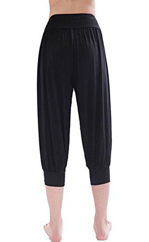 HOEREV Brand Women's Super Soft Modal Spandex Harem Yoga Pilates Capri Pants
