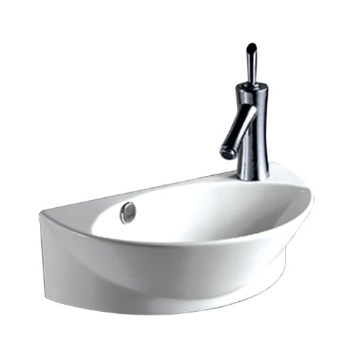 Whitehaus WHKN1131 WHKN1131Isabella Half-Oval Wall Mount Basin with Integrated Oval Bowl, Overflow, Right Offset single Faucet Hole & Center Drain, White