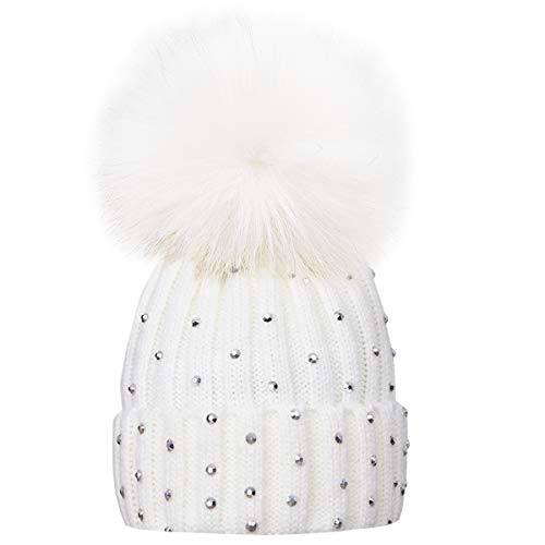 Kids Winter Knitted Hats, Newborns Toddlers Infants Baby Boys Girls Beanie Hat with Shiny Diamonds, Faux Fur Pom Pom Cap for Kids White