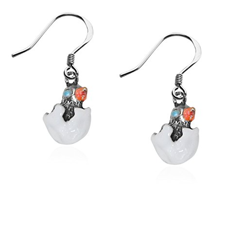Whimsical Gifts Easter Charm Earrings (Easter Chick, Silver)