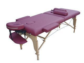 Burgundy PU Portable Massage Table w/Free Carry Case w/Two Bolster Pillows by BestMassage