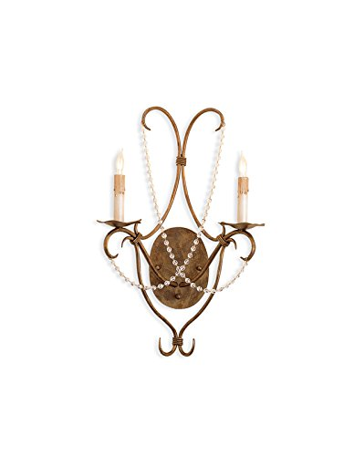 (Currey and Company 5880 Crystal Lights 2-Light Wall Sconce, Rhine Gold Finish with Crystal Bead Accents)