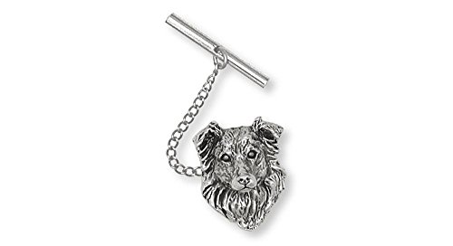 Border Collie Jewelry Sterling Silver Border Collie Tie Tack Handmade Dog Jewelry BE1-TT