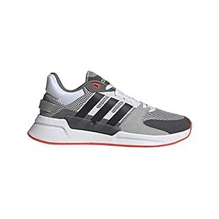 adidas Men's Run90s Running Shoe, Grey/Black/Solar Red, 11 M US