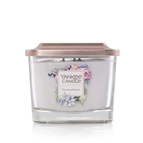 Yankee Candle Company Elevation Collection with Platform Lid Medium 3-Wick Square Candle, Passionflower - Passion Flower Candle Scent