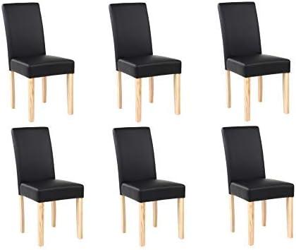 Neo/® Lot de 6 chaises de salle /à manger en similicuir avec dossier haut et pieds en ch/êne 44cm x 56cm x 93.5cm bordeaux