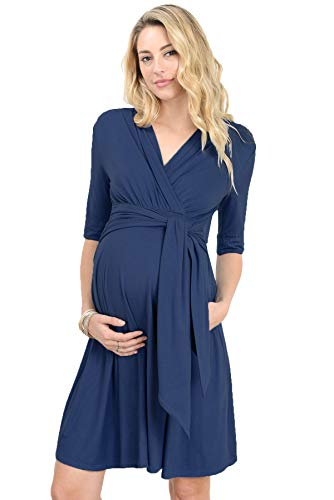 (LaClef Women's Maternity Wrap Dress with Tie Waist Belt (Large, Navy))