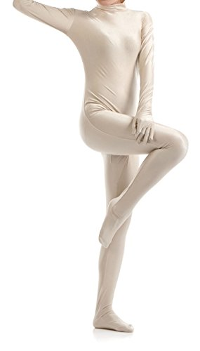 VSVO Unisex Skin-Tight Spandex Full Body Suit for Adults and Children (Kids Medium, Beige)