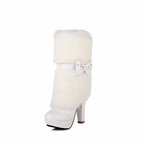 Carolbar Womens Faux Fur Sexy Fashion Adjustable Bows Studded Cosplay Snow Platform High Heel Dress Winter Boots White PhCyc88Lm6