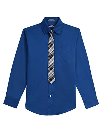 Izod boys Long Sleeve Dress Shirt with Tie, Patriotic Blue, M10/12