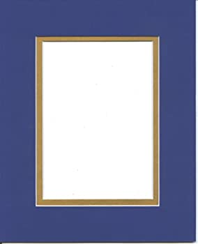 Pack of 5 11x14 Royal Blue & Gold Double Picture Mats Cut for 8x10 Pictures