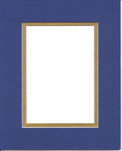 Pack of 5 11x14 Royal Blue & Gold Double Picture Mats Cut for 8x10 ()