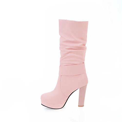 Ladola Womens Platform Light-Weight High-Heel Buckle Urethane Boots Pink svysUSQN